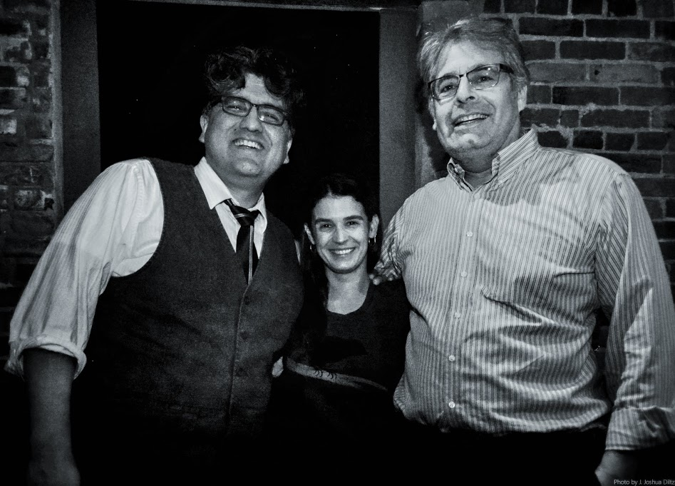 Caption: Sherman Alexie (left) with Katy Sewall and Steve Scher, Credit: Joshua Diltz