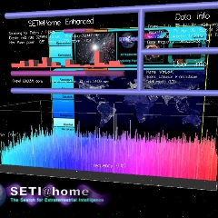 Caption: Screen shot of SETI@Home at work, digging through data for ET's call., Credit: SETI@Home