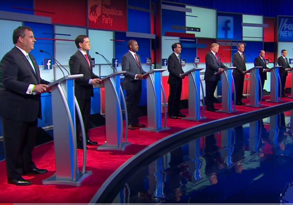 Caption: The Big Ten (top Republican primary candidates duke it out at Cleveland), Credit: Fox News