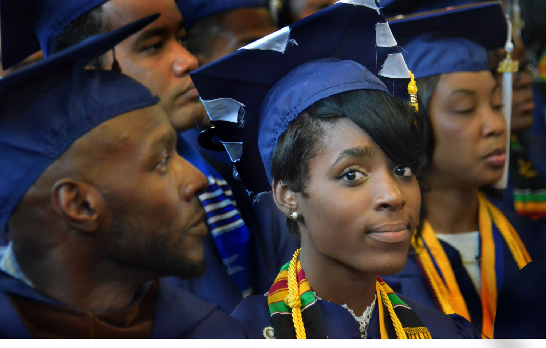 Caption: Students at Howard University graduation, class of 2015, Credit: Emily Hanford
