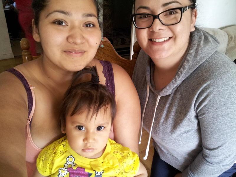Caption: Jasmine Jurado (left) and Nurse Lopez, with baby Anais., Credit: Liz Mak