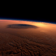 Caption: Artist's conception of the view above Mars, Credit: NASA