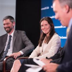 Caption: Geof Syphers, Sonoma Clean Power; Dawn Weisz, Marin Clean Energy; host Greg Dallton