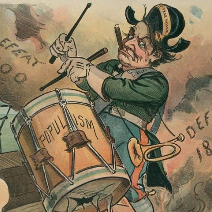 Caption: William Jennings Bryant beating the drum of populism, cover of 'Puck' magazine, 1901., Credit: Library of Congress