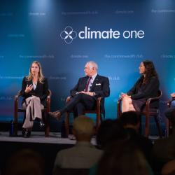 Caption: Lou Allstadt, formerly Mobil Oil; Danielle Fugere, As You Sow; René Ortiz, Former Ecuador Oil Minister; Leila Salazar-Lopez, Amazon Watch; Host Greg Dalton, Credit: Ed Ritger