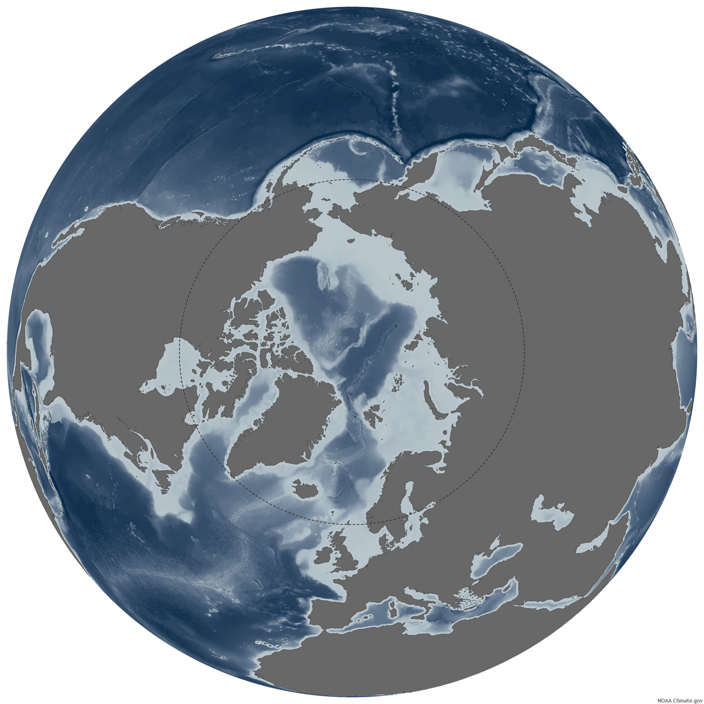 Caption: ,Map based on NSIDC sea ice extent data. , Credit: Climate.gov