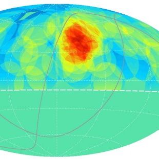 "Caption: A map of the northern hemisphere sky. The cosmic ray ""hotspot"" is in red. The hotspot is located below the Big Dipper constellation. , Credit: University of Tokyo Institute for Cosmic Ray Research"