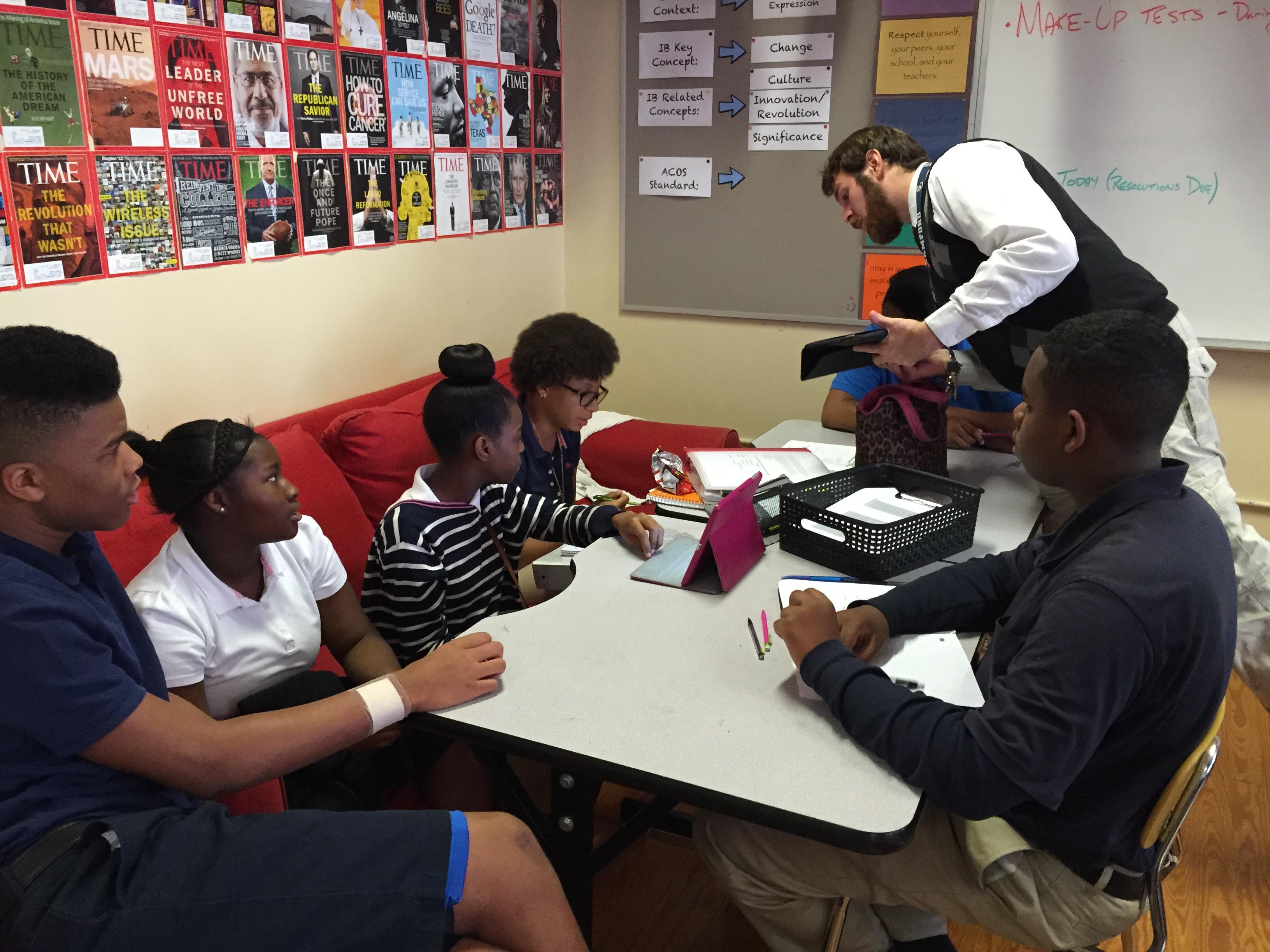 Caption: Teacher John Mark Edwards uses flexibility in teaching his students at Phillips Academy in Birmingham, Alabama. , Credit: Dan Carsen, Southern Education Desk