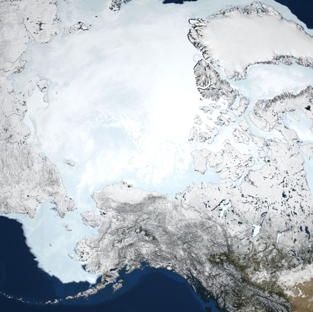 Caption: Declining Arctic sea ice is one factor affecting the region's changing ocean ecosystem. This image based on data from NASA's Aqua satellite shows the extent of sea ice in March 2008. , Credit: NASA
