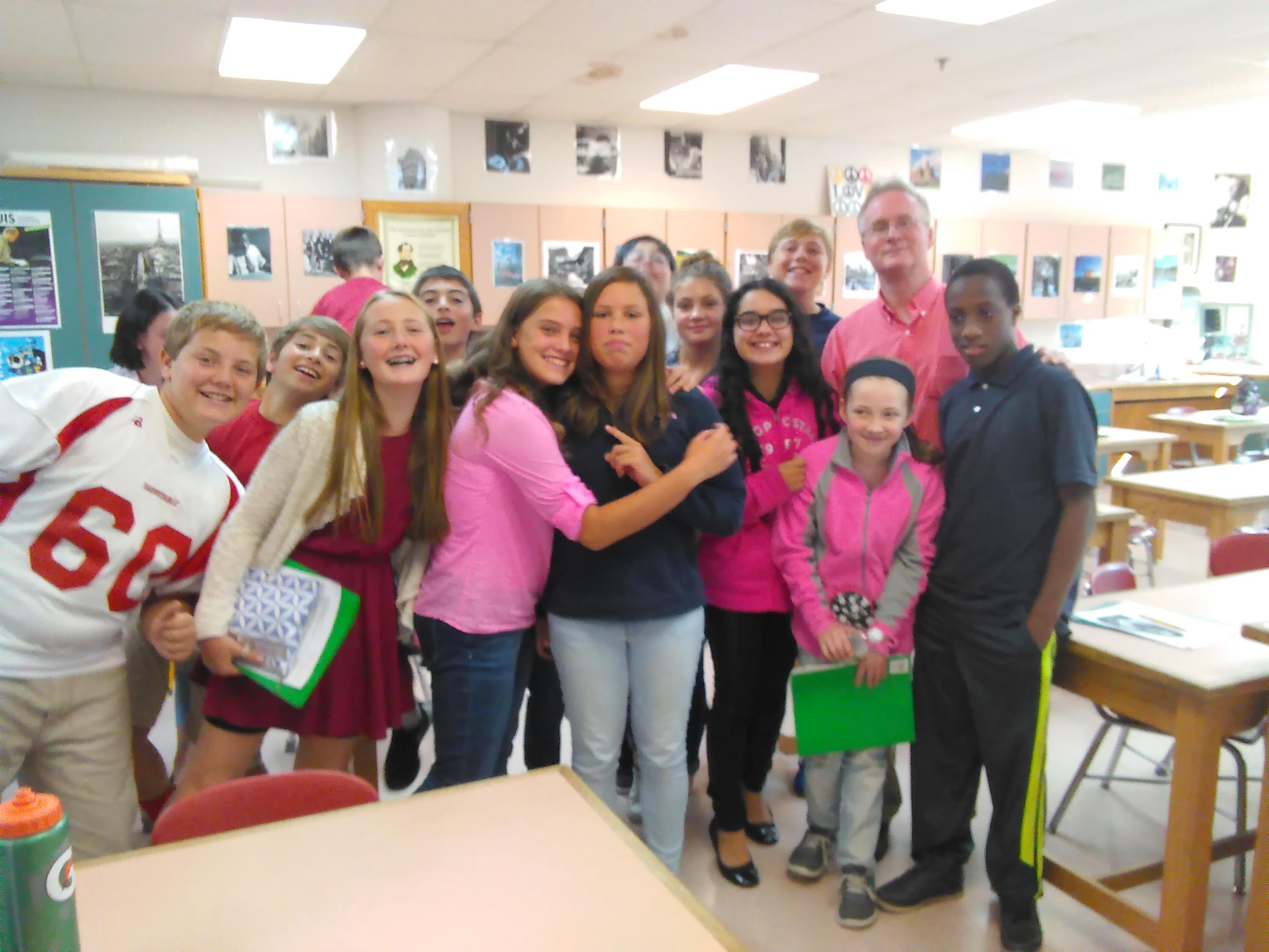 Caption: Mick Carlon and his 7th grade class