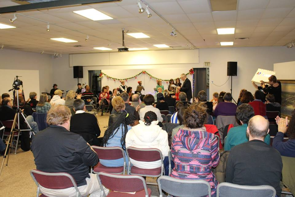Caption: Butterbird Christmas Radio Play Presentation in Gary, IN 12-4-14, Credit: Family Folklore Foundation, Inc.
