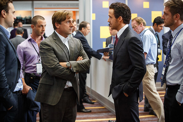 Caption: Steve Carell and Ryan Gosling in a scene from 'The Big Short'