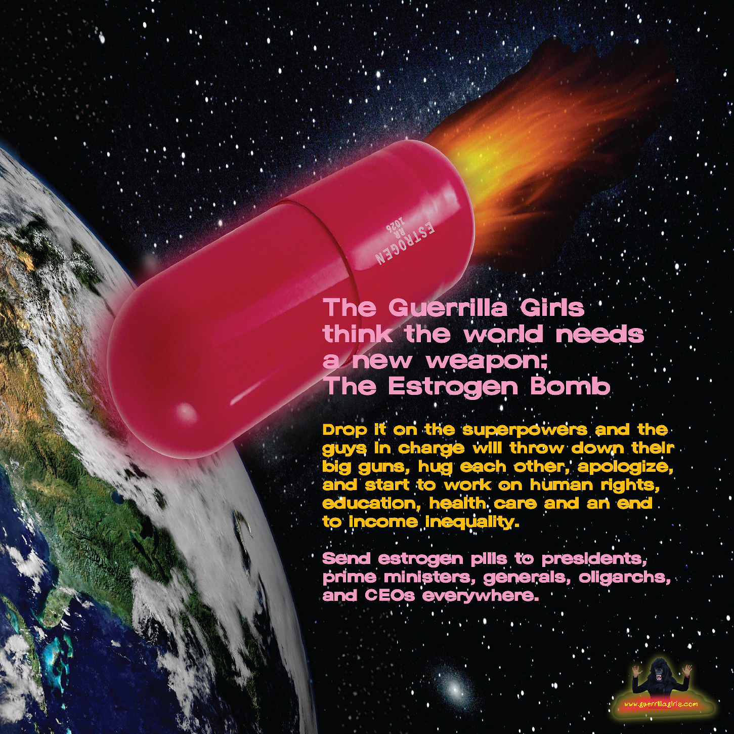 Caption: Estrogen Bomb poster, Credit: Guerrilla Girls