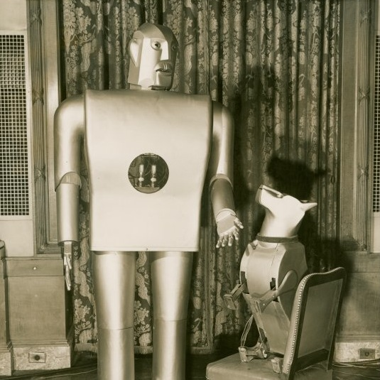 Caption: Elektro the Moto-Man and his Little Dog Sparko, created by Westinghouse Electric Company for the 1939 World's Fair., Credit: New York City Public Library.