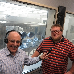 Caption: Host Mat Kaplan and moon rock curator Francis McCubbin, Credit: Mat Kaplan