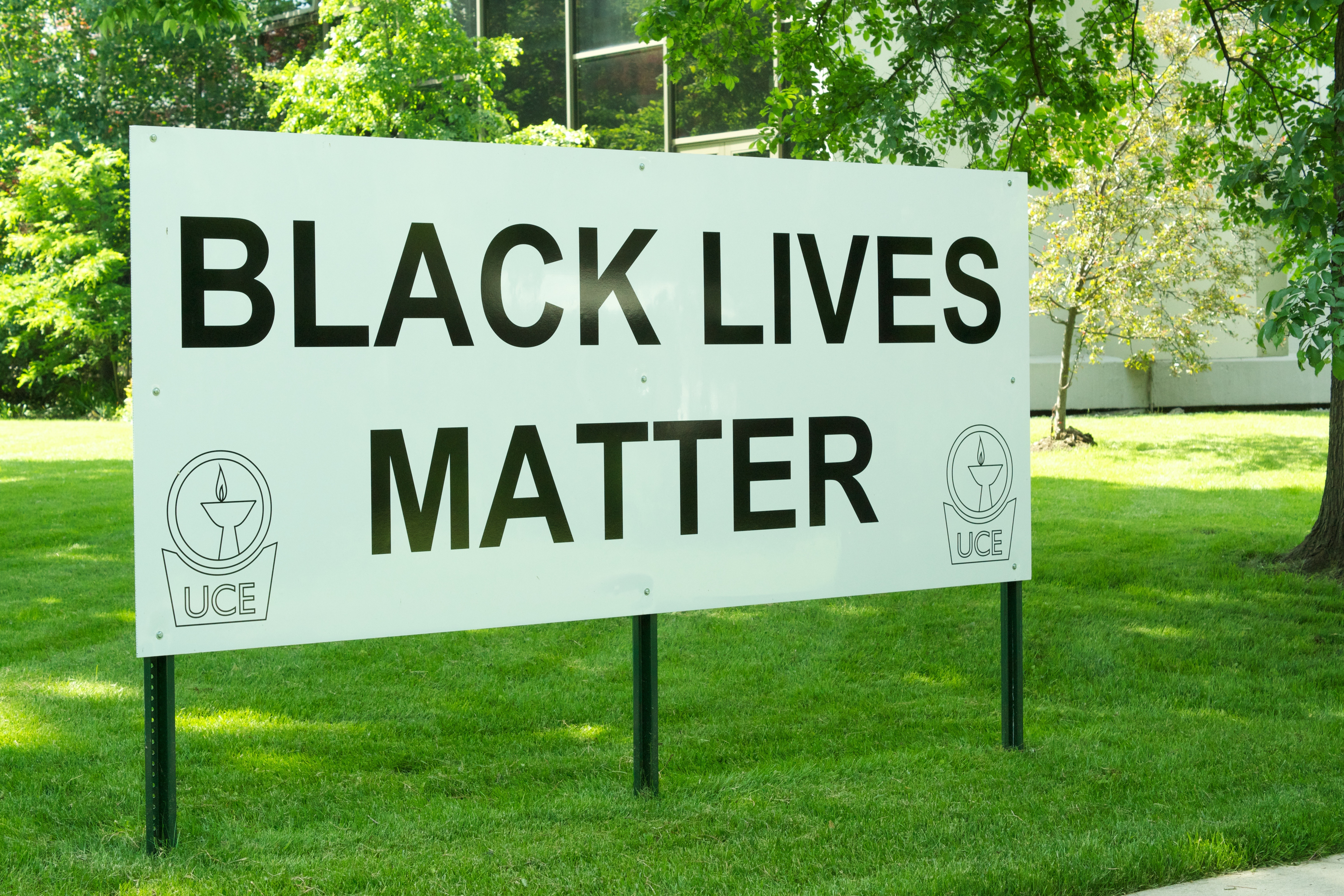 Caption: The Black Lives Matter sign at the Unitarian Church of Evanston, Credit: Katie Klocksin