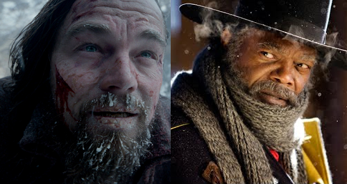 Caption: Leonardo DiCaprio in 'The Revenant' & Samuel L. Jackson in 'The Hateful Eight'