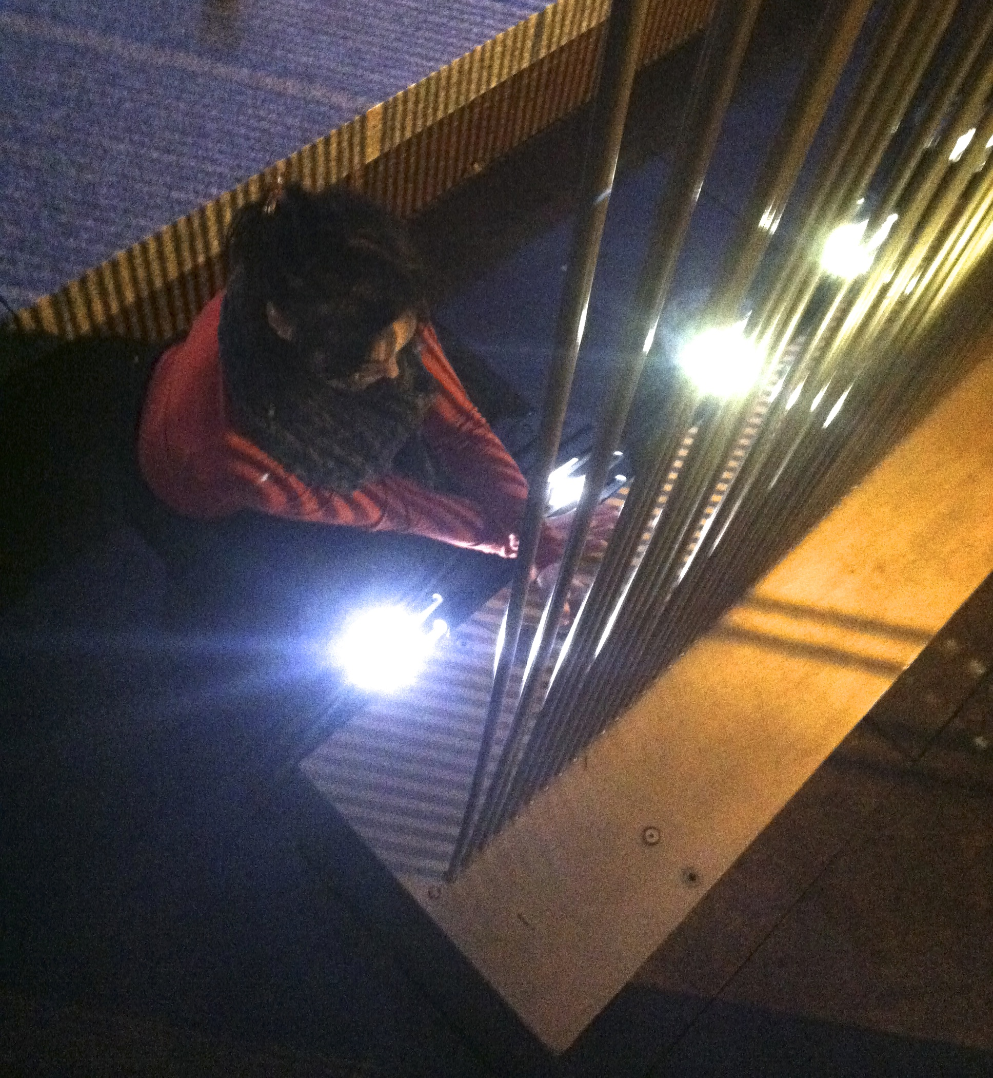 Caption: Olivia Block records a sound sculpture by Harry Bertoia in Chicago.