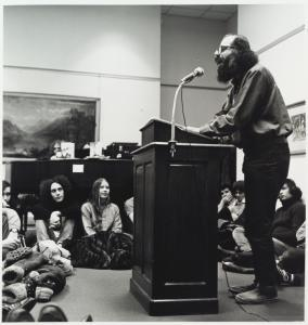 Caption: Allen Ginsberg reading poetry, Credit: The New York Public Library Digital Collections
