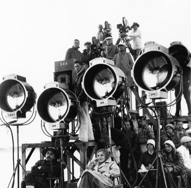 Caption: Film crew on location., Credit: Los Angeles Public Library.