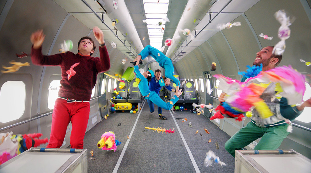 Caption: The carefully-planned madness and joy of OK Go's Upside Down and Inside Out Zero-G Video Shoot, Credit: OK Go