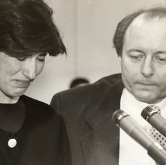 Caption: Samantha Broun with Ernest Preate , Credit: Associated Press