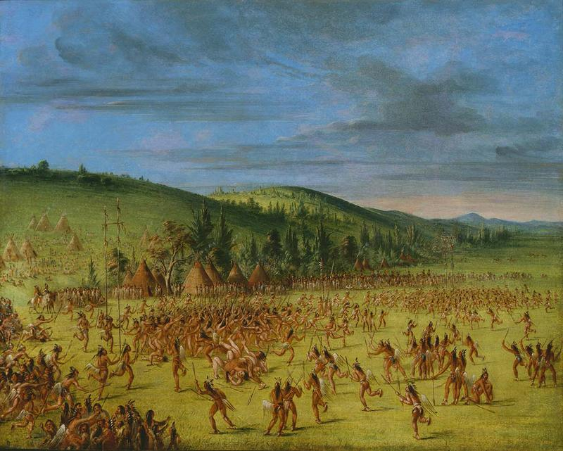 Caption: In 1834, artist George Catlin witnessed Choctaw lacrosse in Indian Territory near present-day Oklahoma., Credit: GEORGE CATLIN / SMITHSONIAN AMERICAN ART MUSEUM