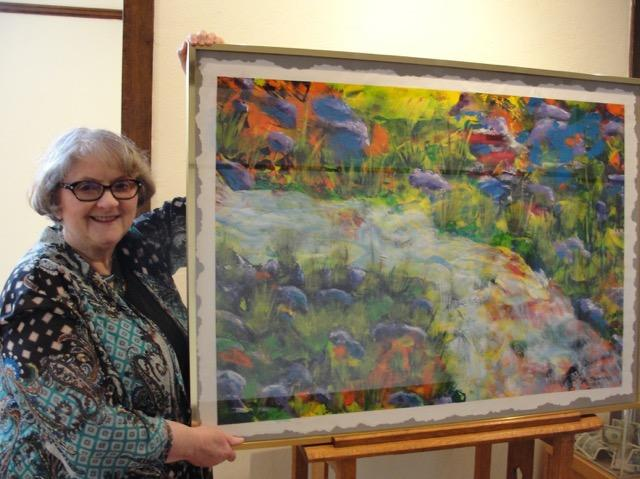 "Caption: Jan Hasselius with acrylic ""Spring Run-Off"""