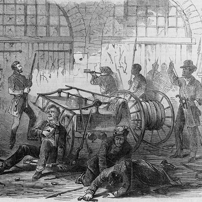 "Caption: ""Harper's Ferry insurrection – Interior of the Engine-House, just before the gate is broken down by the storming party – Col. Washington and his associates as captives, held by Brown as hostages."", Credit: Library of Congress"