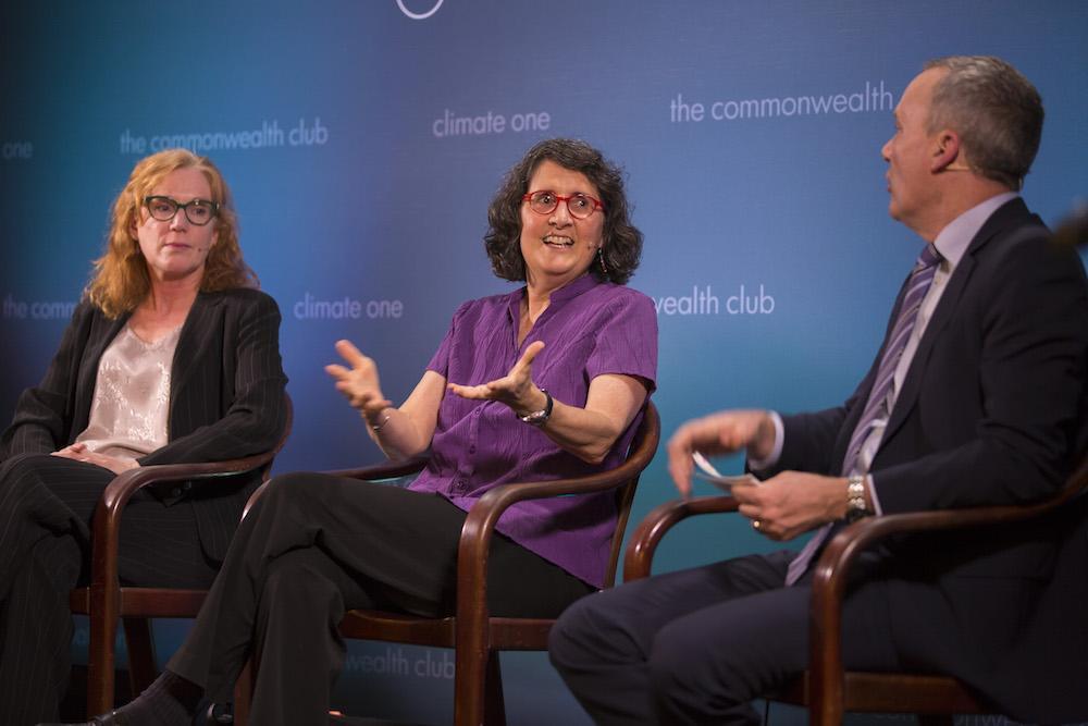 Caption: Eileen Tutt, CalETC; Sherry Boschert, Plug In America; Host Greg Dalton