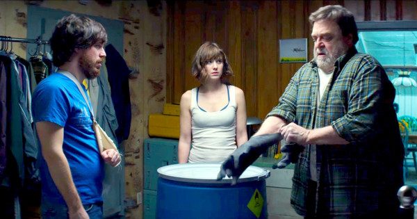 Caption: John Gallagher Jr., Mary Elizabeth Winstead & John Goodman in '10 Cloverfield Lane'