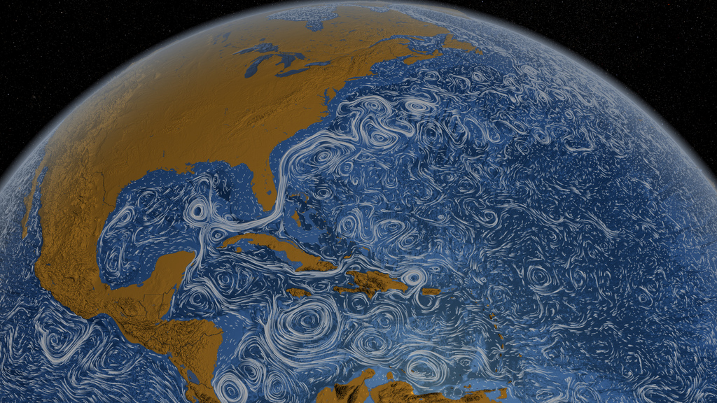 "Caption: Cover image from ""The Once and Future Ocean: Notes Toward a New Hydraulic Society"" by Peter Neill, Credit: NASA ""Perpetual Ocean"""