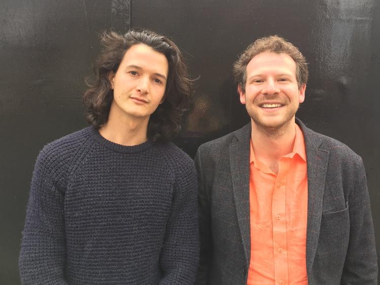 Caption: Charlie Gilmour, with Olly Mann