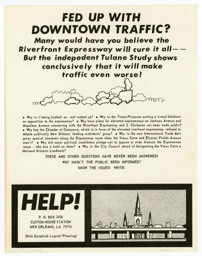 "Caption: ""Fed Up With Downtown Traffic"" flyer, Credit: HISTORIC NEW ORLEANS COLLECTION"