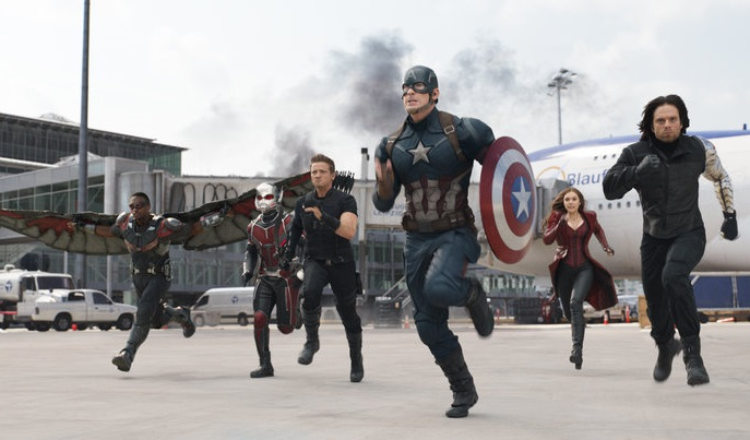 Caption: Anthony Mackie, Paul Rudd, Jeremy Renner, Chris Evans, Elizabeth Olsen and Sebastian Stan in 'Captain America: Civil War.'