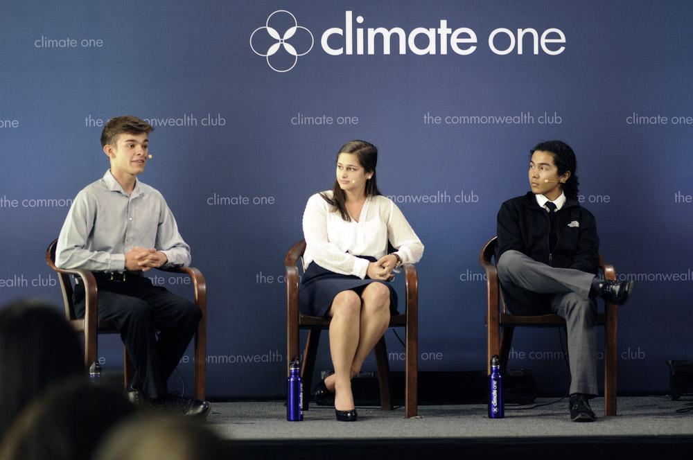 Caption: Ryan Condesa, Action Fellow, Alliance for Climate Education; Giana Amador, Research Analyst, Center for Carbon Removal; Luis Martinez, Student Activist, TEEM , Credit: Elese Moran