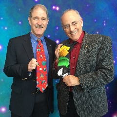 Caption: NASA Associate Administrator John Grunsfeld and Mat Kaplan show off their space ties., Credit: Mat Kaplan