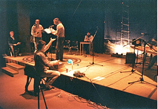 "Caption: Stephen Thomas Oney and his cast rehearse for a live broadcast of ""The Legacy of Euriah Pillar"" at the University of Portland, Maine, Credit: Stephen Thomas Oney"