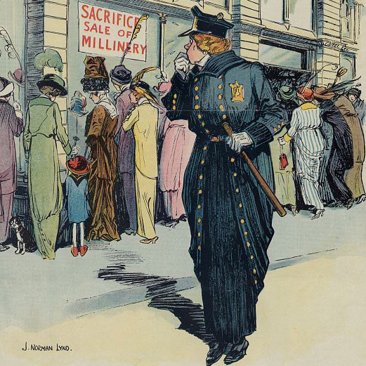 "Caption: ""The Lady Cop. She will never be a success on some ""fixed posts."" in: Puck, 1885 , Credit: Library of Congress"
