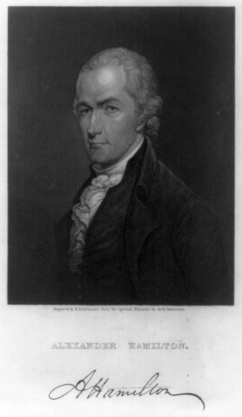 Caption: Alexander Hamilton engraved by Prud'homme from miniature by Arch. Robertson, 1835. , Credit: Library of Congress