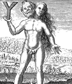 Caption: An engraving from Michael Maier's Symbola aureae mensae (1617) depicting an alchemical androgyne.