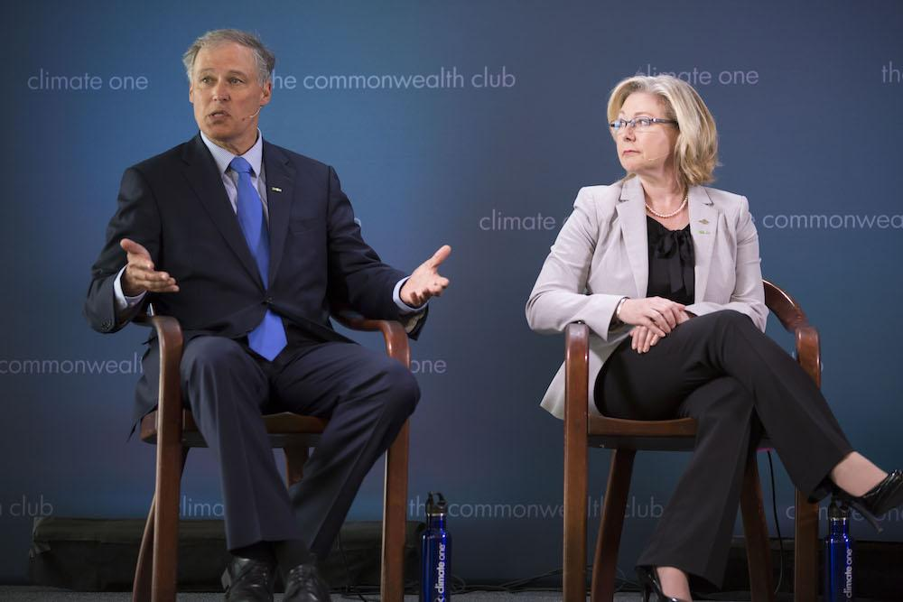 Caption: Jay Inslee, Governor, Washington; Mary Polak, Minister of Environment, Legislative Assembly of British Columbia
