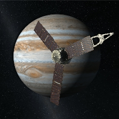 Caption: Artist's concept of Juno spacecraft orbiting Jupiter., Credit: NASA/JPL-Caltech