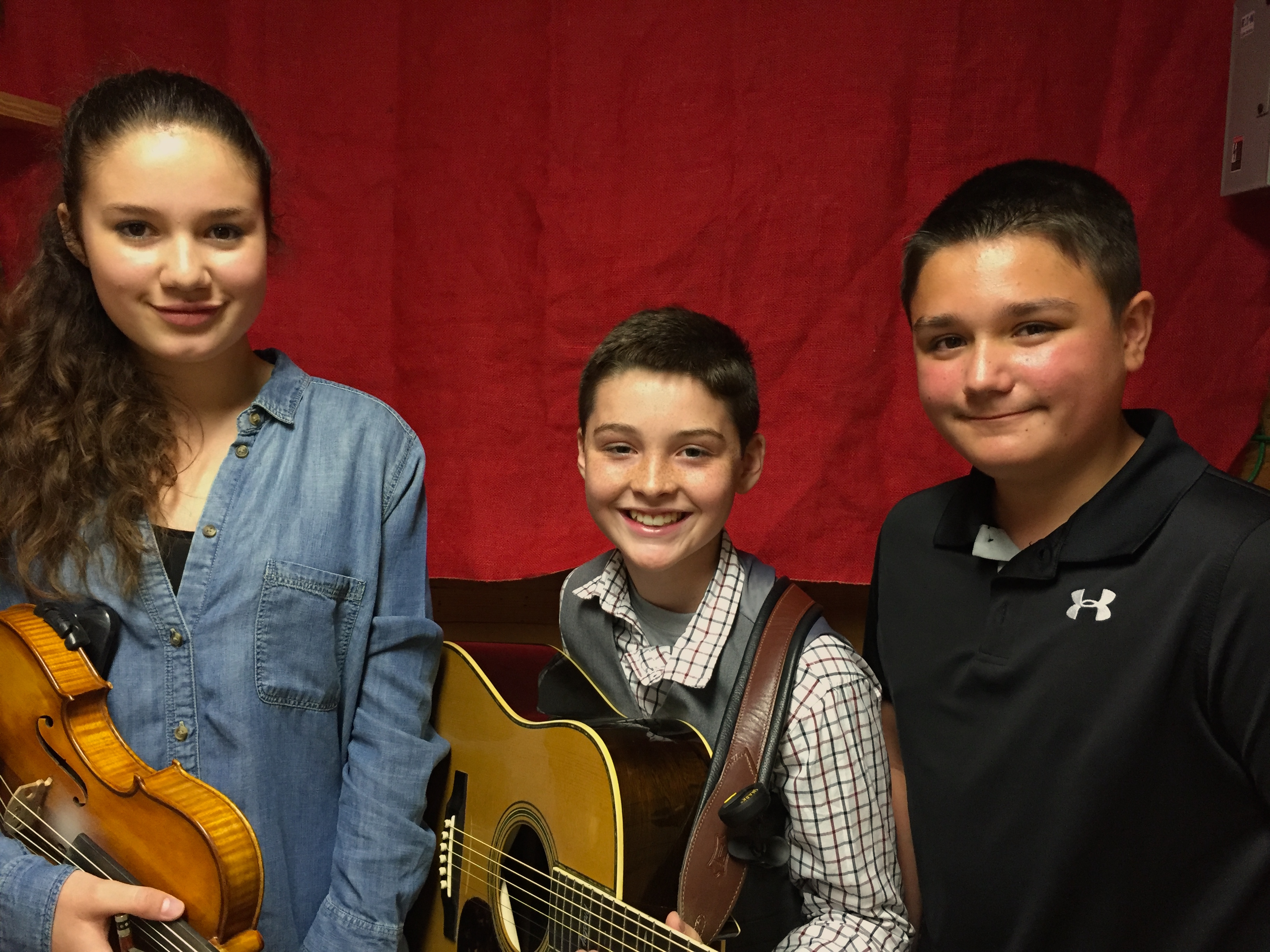Caption: (L-R) Kitty Amaral, Presley Barker and Kyser George are three powerful players out of an exciting new generation of old time and bluegrass musicians bringing enthusiasm, training and great chops to the field.   , Credit: Paul Brown