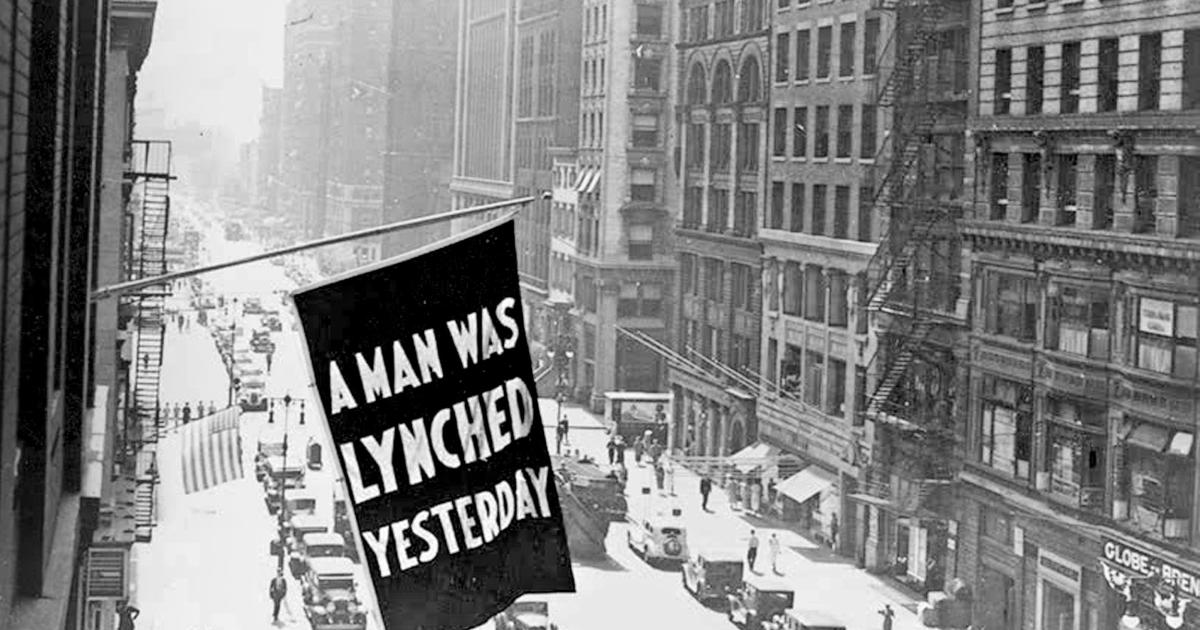 Caption: Anti-lynching banner flew outside NAACP headquarters in midtown Manhattan from the early 1900s until 1938. , Credit:  (LIBRARY OF CONGRESS/COURTESY OF THE NAACP)