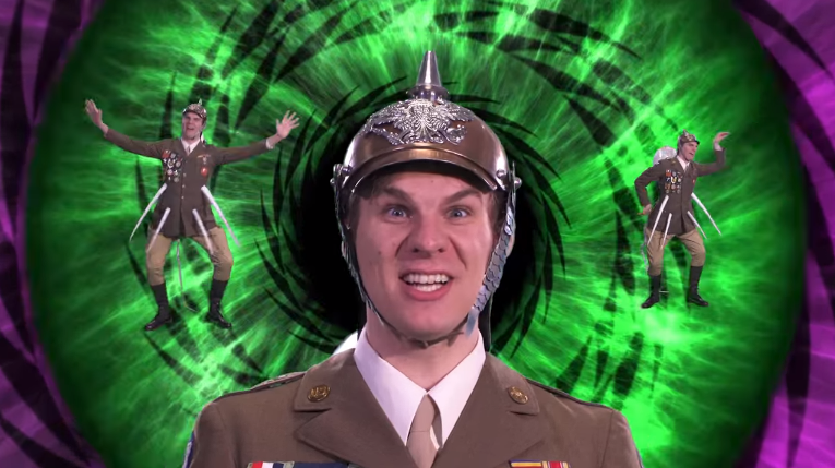Caption: In the video, the spiny water flea is depicted as an aggressive military general.