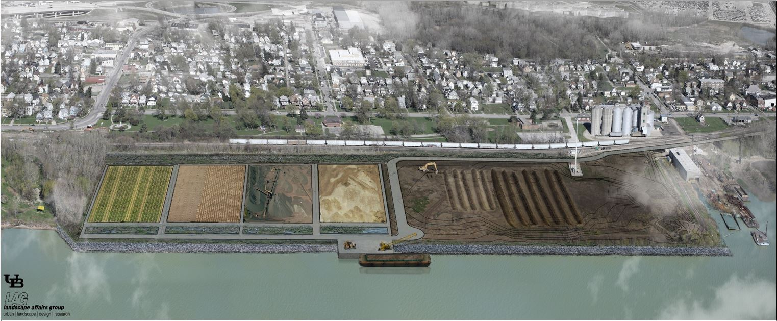 Caption: A rendering of the dredged material facility, Credit: Toledo-Lucas County Port Authority