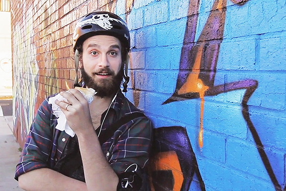 Caption: Actor and writer Ben Sinclair poses as a NYC delivery guy, Credit: High Maintenance TV Show