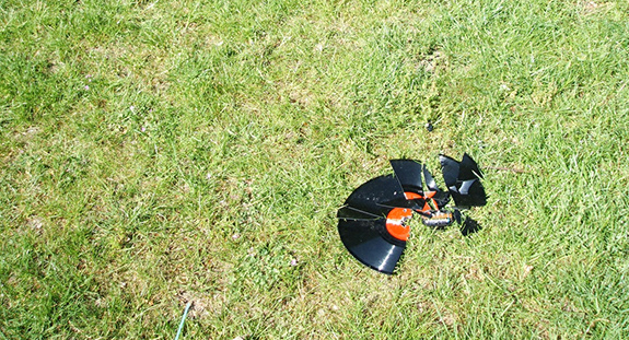 Caption: A broken record sits in the grass., Credit: Monika/Flickr