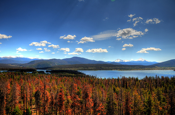 Caption: The blue-graded sky screams overhead a green and rusty red Colorado forested lake., Credit: Jasen Miller/Flickr